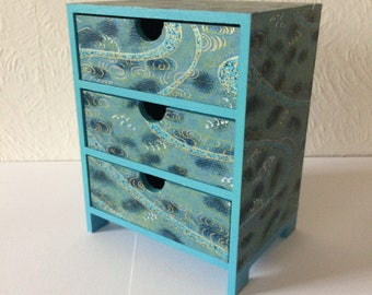 Chiyogami covered 3 drawer chest. Hand printed Japanese paper 19.7 cm high