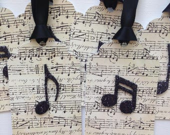 Music note gift tags/party favor tags