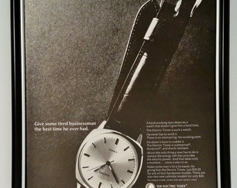 1966 Timex Electric Watch Original Full Page Magazine Print Ad Vintage 60s