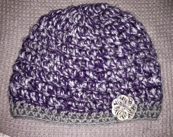 Kids purple and grey combo hat with grey bottom and grey button