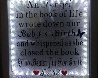 Baby memorial light up box frame