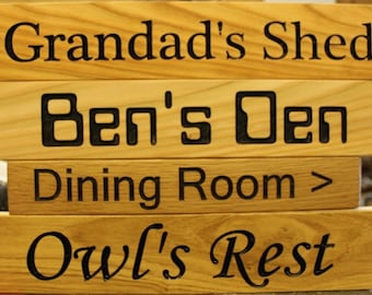 engraved wood house  signs