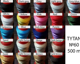N60 thread for stitching leather - Leatherwork thread strings - Polyester thread machine sewing - Leather craft colored thread 500 m