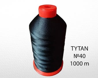 N40 Black thread for stitching leather - Leatherwork thread strings - Polyester thread machine sewing - Leather craft thread sewing 1000 m