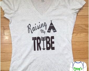 Raising my tribe women's v neck t shirt