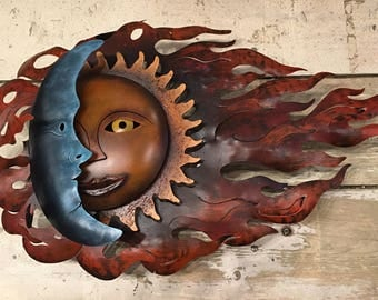 Eclipse Wall Hanging / Sun and Moon Metal Sculpture/ Garden Sun and Moon / Eclipse / Mexican Sun and Moon