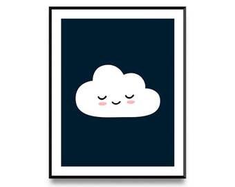 Happy Cloud, Nursery Decor, Nursery Wall Art, Nursery Art, Animal Print, Nursery Artwork, Nursery Prints, Animal Art, Printable Art