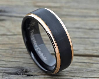 Men's Black Tungsten Ring With 18k Rose Gold Edge, 8mm Comfort Fit Wedding Band with  Brushed Finish