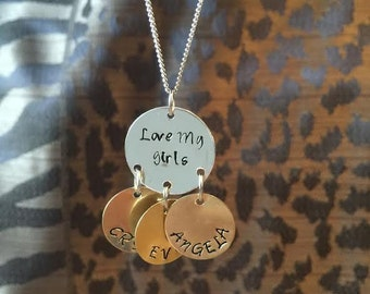 Love My Girls Necklace, Mother Necklace, Mother Jewelry, Hand Stamped Mother Necklace, Mother's Day Gift, Hand Stamped Jewelry