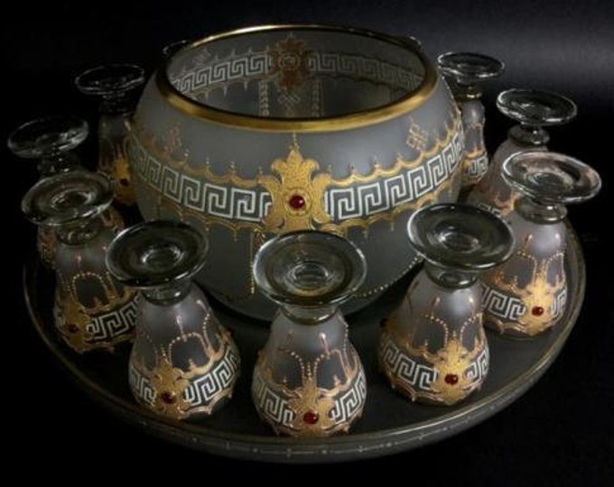RARE Antique Bohemian Czech Enameled and Frosted Crystal Punch Bowl With 12 Cordials and Tray