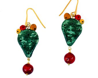 Prickly pear blade earrings