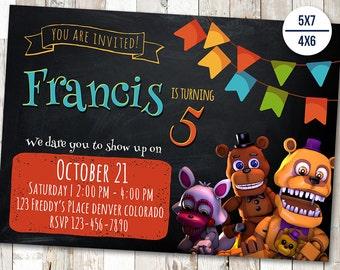Five Nights at Freddy's Invitation, Five Nights Freddy's Birthday, Fnaf Party Invites, Freddy Invitations, Printable Invite, Printables Card