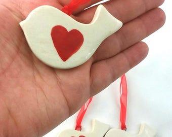 White pottery love birds (set of 3)