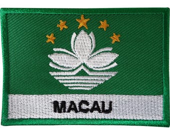 Macau Flag Patch Iron On Sew On Las Vegas of Asia Casino Poker Embroidered Badge