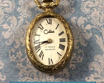Beautiful Vintage 17 Jewel Colibel Working Pendant Watch Made in France