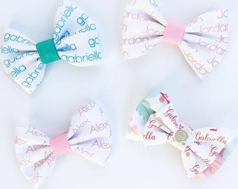 Personalized Fabric Name Hair Bow Girl's Bowtie Bow Baby Girl Custom Bow on Alligator Clip or Nylon Headband