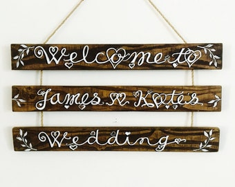 Wooden wedding welcome sign personalised for rustic, vintage, boho, outdoor, barn, festival weddings
