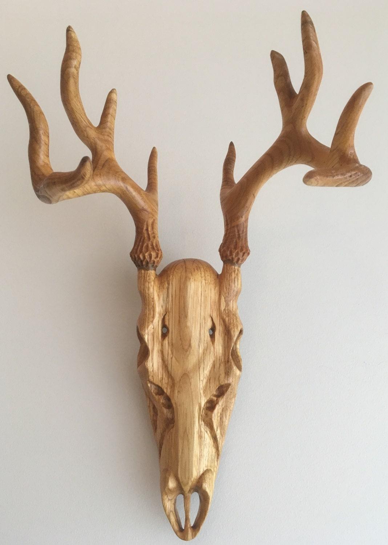 Hand carved wooden deer skull willow