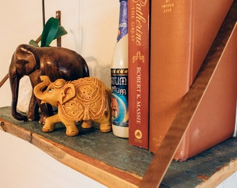 Leather Strap Floating Shelf - Turquoise Reclaimed Farm House Siding