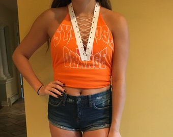 Halter lace up custom college shirt