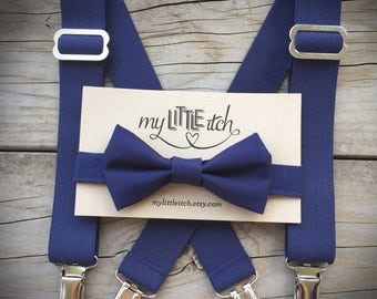 Baby boy baptism outfit, baby boy blessing outfit, navy bow tie, navy suspenders, newborn boy photo props, cake smash outfit, ring bearer