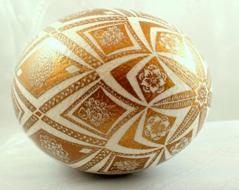 golden egg, Easter ostrich eggs, pysanka, gold egg, hand decorated, gift for best friend, pysanky, Easter egg ,