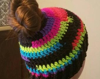 Neon Rainbow Bun Beanie Adult