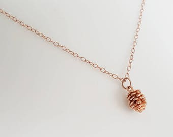 Rose Gold Pinecone Necklace - 14k Rose Gold Filled Chain - Pinecone Jewelry - Everyday Necklace - Mother's Day gift