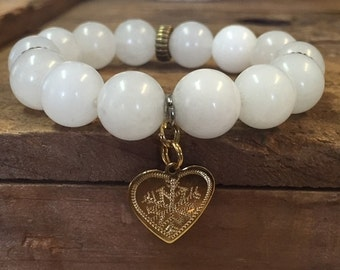 White Jade Beaded Bracelet with Heart Charm