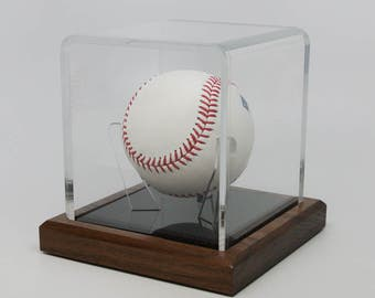 """Baseball Display Case, handcrafted with quality solid wood base and a 3/16"""" Acrylic case with special  tripod acrylic Holder."""