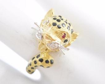 Cheetah Ring, Ruby Ring, Diamond Ring, Enamel Ring, Ornate Ring, 18k Yellow Gold Round Ruby Black Enamel Cheetah Ring Sz 6.25 #1849