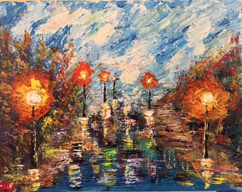 Reflections- acrylic on canvas using palette knife