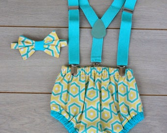 Mint, Yellow & White 3 Piece Cake Smash Outfit - Photography Prop