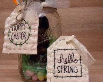 Happy Easter hand embroidery Pattern PDF primitive stitchery Mason jar tag child's gift