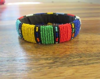 African Zulu Beaded Bangle Bracelet