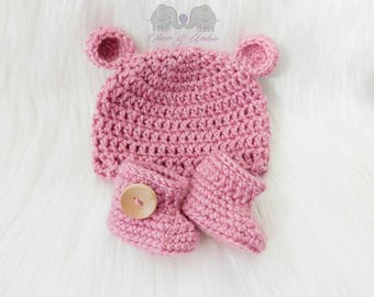 Newborn gift set (6 colours)  - booties and hat - newborn booties - newborn beanie - baby booties - newborn baby hat - baby shower gift