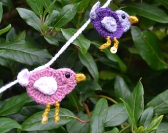 Crochet bird bunting