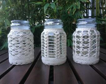 Glass coated raw cotton crochet