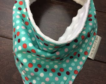 Baby Bandana Bib - teal with dots