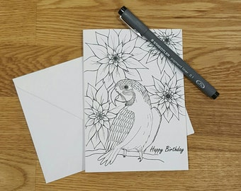 Colour in card   Birthday card   Doodle card   Adult colouring