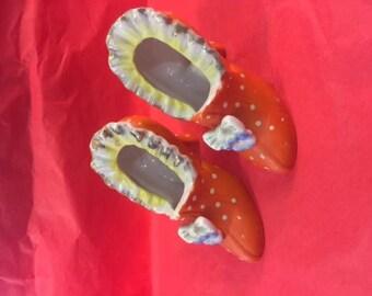 Orange ceramic collectible shoes (pair)