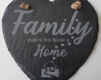 Family Home/ Heart slate, Hanging wall decor, Gift/ house warming Gift/ New home Sign