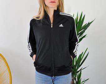 Adidas Jogging Jacket / Black Jogging Jacket / Vintage Clothe / Vintage Jacket / Sportswear / Size M / Women Clothing