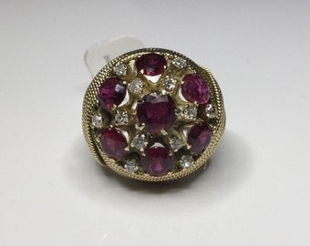 Estate 14K Yellow Gold 3.75CTW Natural Ruby & Diamond Dome Ring 14 Gram Size 7.5