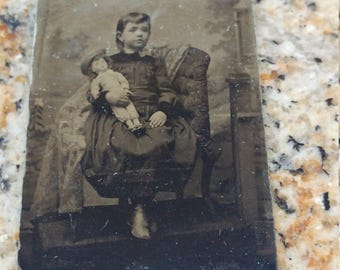 Darling Doll:  Antique Tintype Photograph of Young Girl With Doll