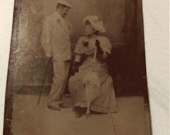 Flirty Fun:  Antique Tintype Photograph of Playful Couple