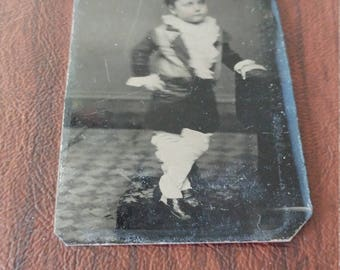 Little Lord Fauntleroy:  Antique Tintype Photograph of A Young Boy in a Fancy Outfit/Costume