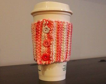 Coffee Cozy, Sleeve, Reuse, Eco Friendly, Coffee Jacket, Pink, White