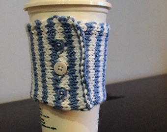coffee cozy, tea cozy, sleeve, recycle, reuse, coffee jacket, blue, white
