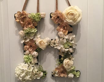 Ivory and Tan Floral initial hanging wreath